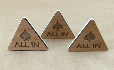 """Lot of 3 """" ALL IN """" Button Poker Triangle Wood-Plastic Custom Poker Game"""