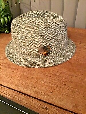 MEN'S WOMEN'S VINTAGE HARRIS TWEED FEDORA HAT  Size large