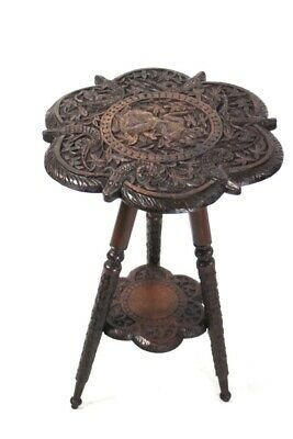 Ceylonese Carved Tripod Table [5656]