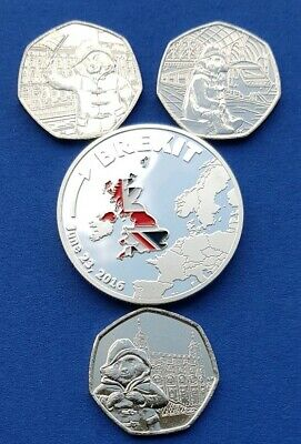 3 × Paddington bear 50p coins 2019 &  2018 50P Pence. + Brexit coin.