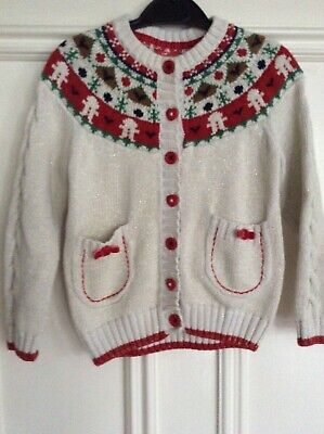 TU Girls' Christmas Cream Sparkly Festive Cardigan Size 2-3 Years V Pretty VGC