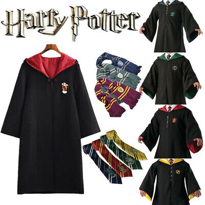 Harry Potter Robe Cloak Cape Hogwarts Gryffindor Ravenclaw Cosplay Costume Adult