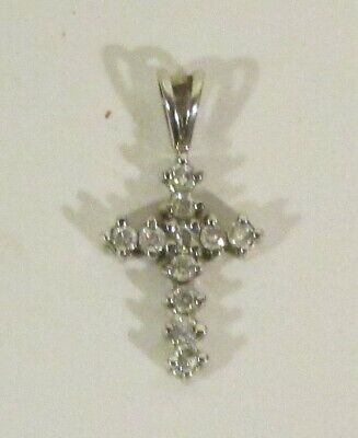 Sterling Silver Cross Pendant With 11 Clear Crystals