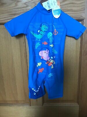 Boys BNWT Peppa Pig Sun Protection Swimsuit UPF 50+ 2-3 Years