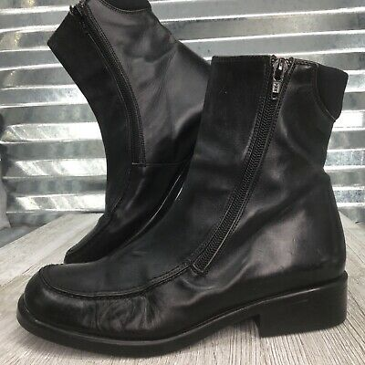 Walking Co Black Leather Boot Double Zip Up Ankle Moc Toe Comfort Shoe Size 38