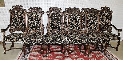 Antique Style Louis XV Carved Country French Dining Chairs 2 Arm 8 Side Chairs