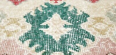 Rare Antique 1930-1940's Natural Dye Distressed Wool Pile Oushak Area Rug 4x7ft
