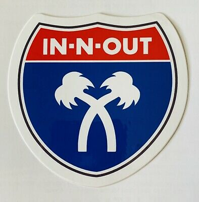 IN-N-OUT BURGER CROSSED PALM TREES CALI STYLE BUMPER STICKER DISCONTINUED