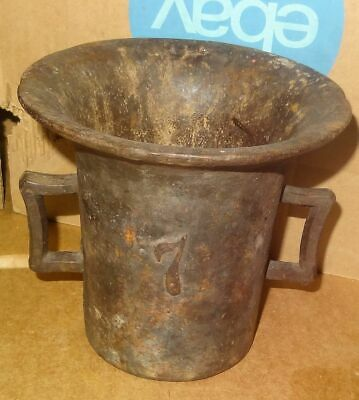 Antique Cast Iron Number 7 Mortar w/ Dual Handles Apothecary