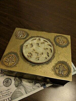 Vintage CHINESE Engraved Brass JEWELRY CIGARETTE Box, Carved Jade Medallion