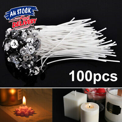 100pcs Waxed Core Smoke with AU candle wicks Wick Low Cotton Tabs Sustainers Pre