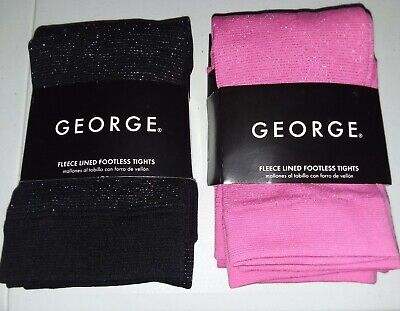 BUY1GET1.George-Girls-Size12-16 Fleece Lined-Footless Tights-Pink/Black Sparkle
