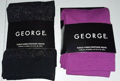 BUY1GET1 George-Girl-Size12-16 Fleece Lined Footless Tights-Purple-Black Sparkle