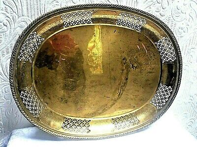 BEAUTIFUL Antique Vintage Hand Decorated Chinese Reticulated Large Brass Tray