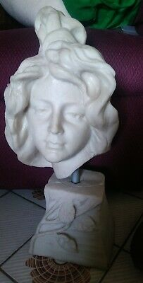 Vintage Art Nouveau Maiden Bust Cold Soap Resin Cast