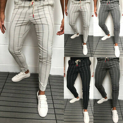 AU Men's Formal Business Striped Dress Pants Slim Fit Casual Long Trousers