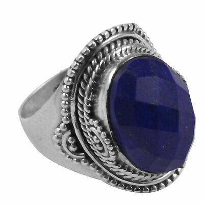 faceted-Lapis Lazuli Solid 925 Sterling Silver Ring  Jewelry Size-7 AR-3926