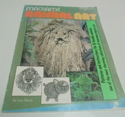 Animal Art Macrame Book 8 projects Elephant pig dog cat lion giraffe poodle frog