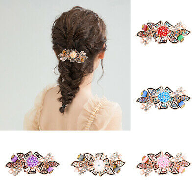 Women's Flower Hair Clips Grips Slide Crystal Barrette Hair Accessories Ponytail