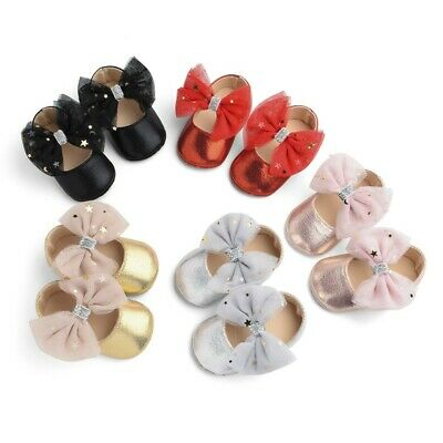 Toddler Kids Baby Girls Boys Sequin Cute Bow FirstWalk Hook&Loop Casual Shoes