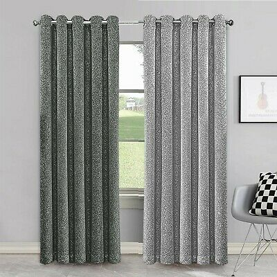 Grey Crushed Velvet Curtains Pair Thick Ready Made Fully Lined Eyelet Ring Top