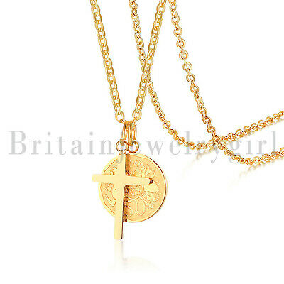 Stainless Steel Gold Cross Queen Elizabeth Medallion Coin Pendant Chain Necklace