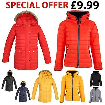 Ladies Womens Thick Parka Coat Padded Quilted Faux Fur Zip Hooded Puffer Jacket