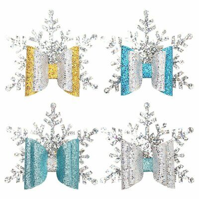 Handmade Christmas glitter snowflake bow baby/girls hair clip or headband UK