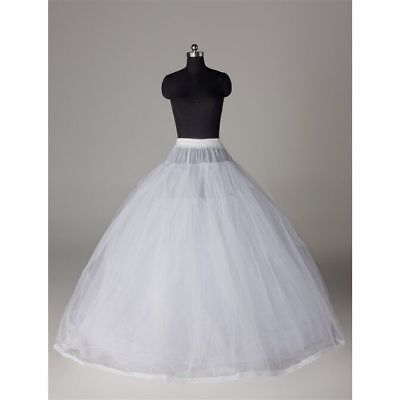 White 4 layer Bridal Wedding Petticoat Underskirt Crinoline Skirt without Hoop