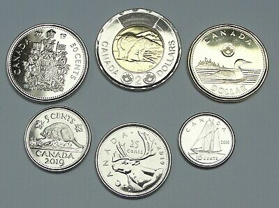 Canada 2019 6 coin set(5 cents to 2 dollars) UNC