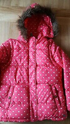 Girls Mini Boden Pink And White Spotty Coat Age 11-12 Years
