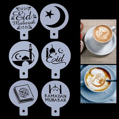 6Pcs Eid Mubarak Coffee Stencil Diy Ramadan Coffee Printing Template Cake Decors