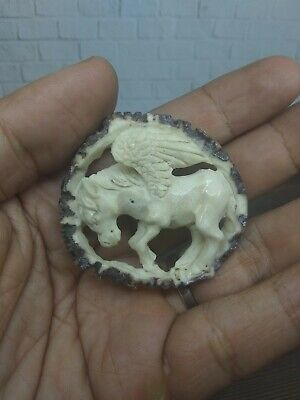 Pendant Necklace Pegasus Horse Wings from Deer Antler Hand Carved_1