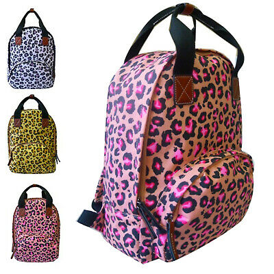 Womens Large Laptop Canvas Leopard Animal Print Backpack Girls School Bag