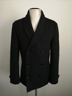 Mens Hardy Amies Wool Button Up Black Pea Coat Jacket VGC - Size Small