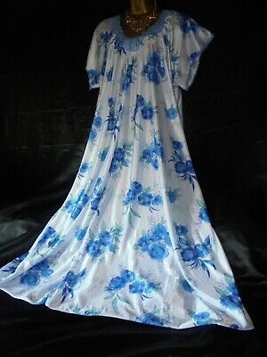 Stunning vtg silky  floral nightie dress slip negligee  56 chest cd/tv