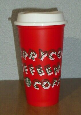 Starbucks RED Reusable Hot Cup Grande 16oz MERRY COFFEE Christmas Holiday 2019
