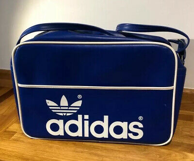 Original 1970s Retro/Vintage Adidas Peter Black Blue & White Gym/Carry-on bag
