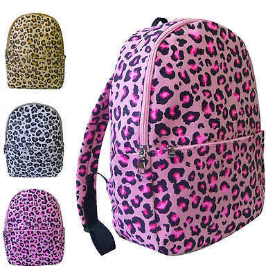 Womens Large Quality Backpack Leopard Animal Print Ladies Girls School Bag
