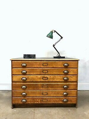 Vintage 50s A1 Oak Architects Plan Chest Drawers Industrial Map DELIVERY