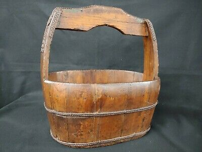 Early Chinese Rice Bucket Harvesting Basket