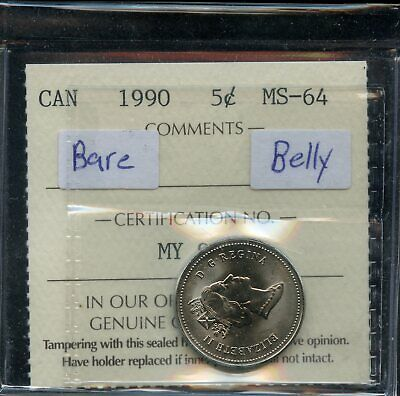 1990 Canada 5 Cents Nickel Coin - ICCS MS-64 - Bare Belly