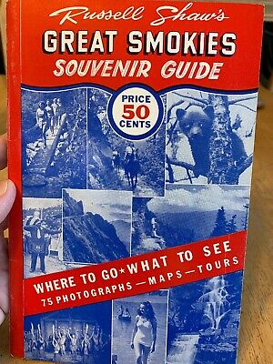 1961 Russell Shaw's Great Smokies Souvenir Guide Smoky Mountains Tennessee,clean