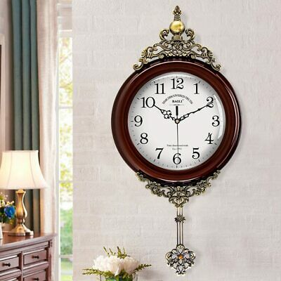 European Antique Wooden Wall Clocks Pendulum Decor Silent Quartz Movement Art