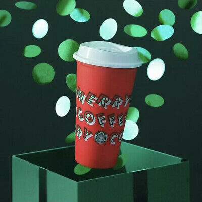 Starbucks 2019 Red Reusable Cup Grande 16 oz MERRY COFFEE CHRISTMAS - SOLD OUT