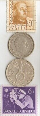 coin+stamp of SPAINS *dictator *gen.FRANCO+*WW2-*german SILVER coins+'TUT' coin