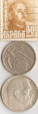 stamp of SPAINS *dictator *gen.FRANCO+*WW2-*german SILVER coins+'CLEO'coin