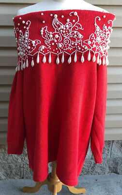 """Vintage """"ugly"""" Christmas Sweater Womens 2XL Plus Studio C Red White Beaded"""