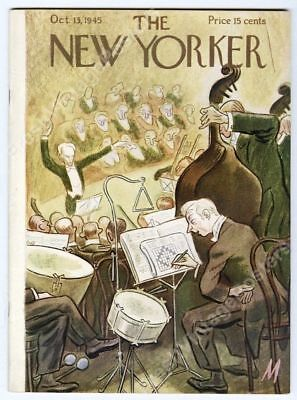 New Yorker magazine October 13 1945 orchestra drummer cov NEAR MINT