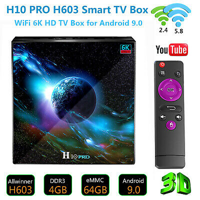 H10 PRO H603 Android 9.0 4GB+64GB Quad Core Smart TV Box Dual Band WiFi 3D 6K HD